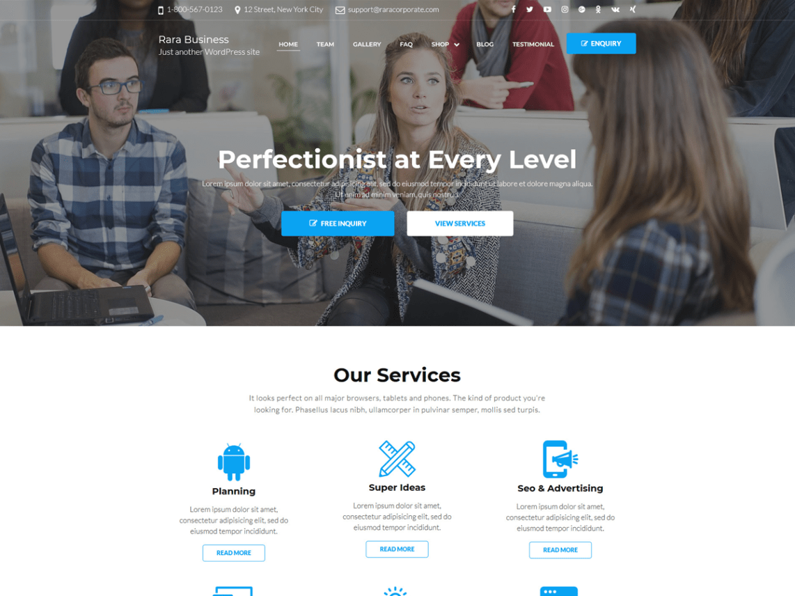 Rara Business Free theme