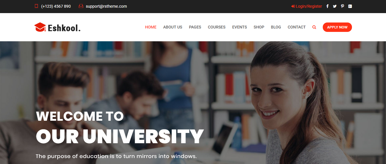 WordPress theme for education, Eshkool