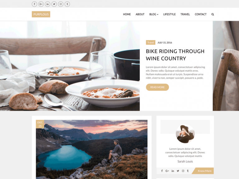 free WordPress themes for blog and personal beauty-Yudlee Themes-Purplous