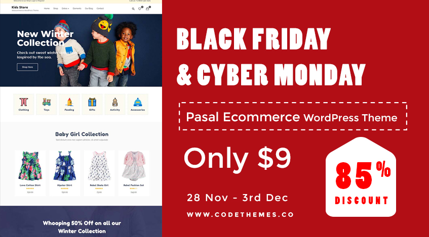 WordPress Black Friday and Cyber Monday Sale - Pasal eCommerce WordPress themes - Yudlee Themes